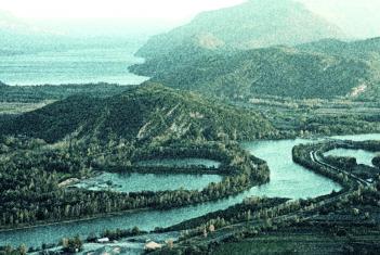 France, Ain (01), Culoz, Le Rhone depuis la montagne du grand colombier, le lac du Bourget en arriere plan