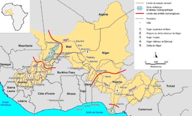 Carte BASSIN VERSANT DU NIGER DEPUIS LA DORSALE GUINEENNE JUSQU'A SON DELTA MARITIME NIGERIAN